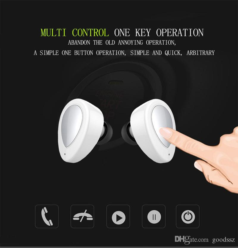TWS K2 Twins True 무선 블루투스 이어폰 V4.1 iPhone 7 용 마이크가있는 충전 소켓이있는 스테레오 헤드셋 삼성 스마트 핸드폰