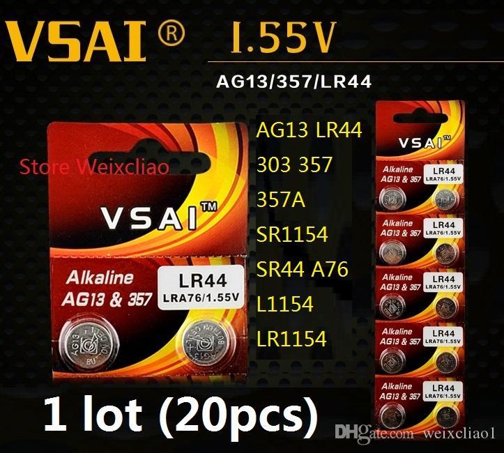 20 قطع 1 وحدة AG13 LR44 303 357 357A SR1154 SR44 A76 L1154 LR1154 1.55 فولت بطارية زر خلية البطارية القلوية بطاريات vsai مجانية
