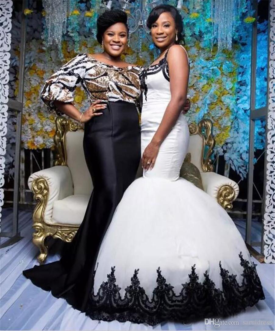 Скромные кружева Scoop Clace Appleiqued длиной свадебные платья для свадебных платьев Африканская черно-белая атласная тюль русалка свадебные платья