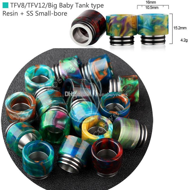 Top punte in resina epossidica SS punte a goccia Wide Bore 510 810 punta gocciolatore Boccaglio TFV8 TFV12 Big Baby Tank Kennedy AV24 atomizzatore RBA e cigs Mod RDA DHL