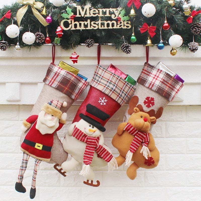 Large Candy Stockings Christmas Xmas Tree Hanging Decoration Big ...