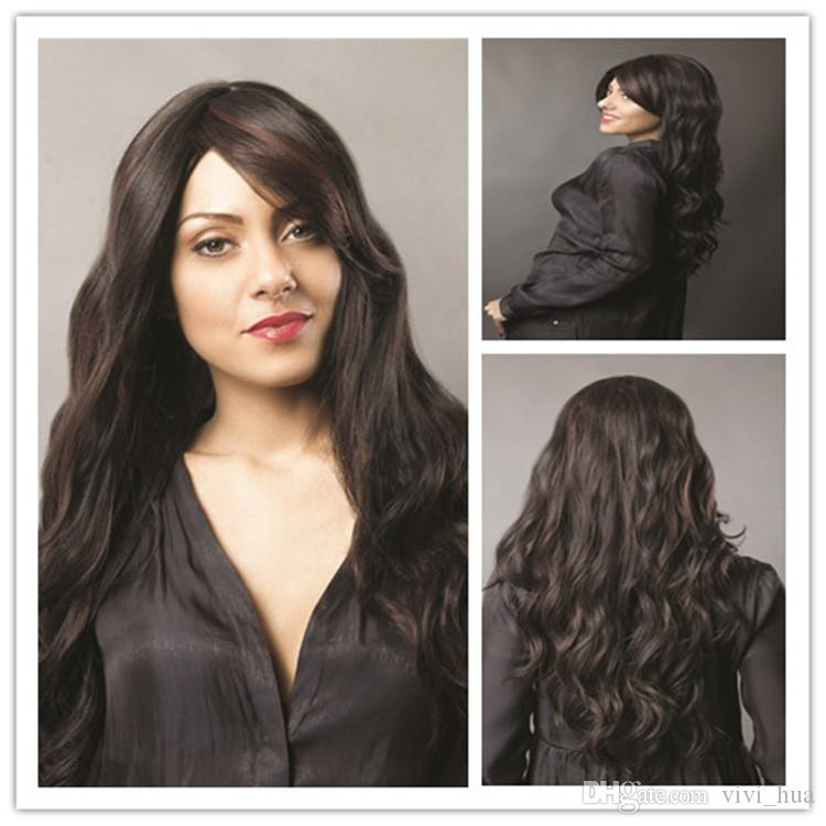 XT771 Fashion Lady's wig Black Hair big wavy Long wigs Wavy Full Lace Human Hair Wigs Middle Seamless wigs oblique bangs accessories