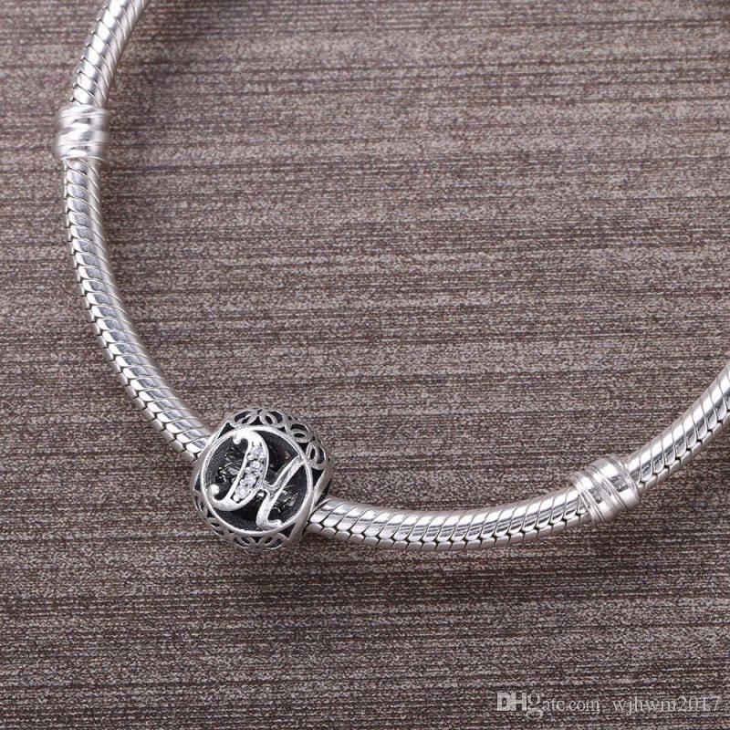 Pflastern Sie klare Kristall Vintage Buchstaben H Charms Perlen 925 Sterling Silber Alphabet H Perlen Diy Marke Logo Armbänder Schmuck machen Zubehör
