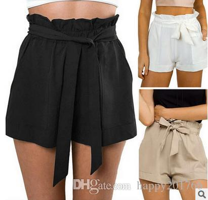 d45154f7cbe 2019 Fashion Women Casual Shorts Design Patchwork Plus Size High Waist  Shorts Loose Fashionable Shorts Female With Belt From Happy201766