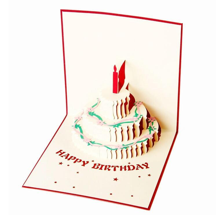 Custom Logo Happy Birthday Cake Greeting Card 3d Pop Up Paper