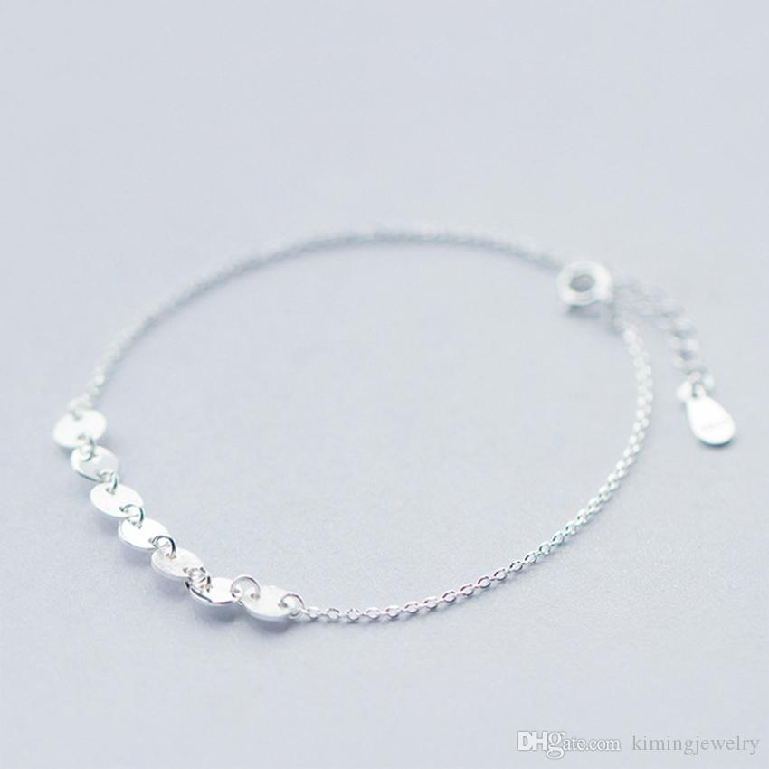 Real Pure 925 Sterling Silver Vintage Style Snake Chain with Round Disc Women Jewelry Ankle Bracelet pulseras de plata