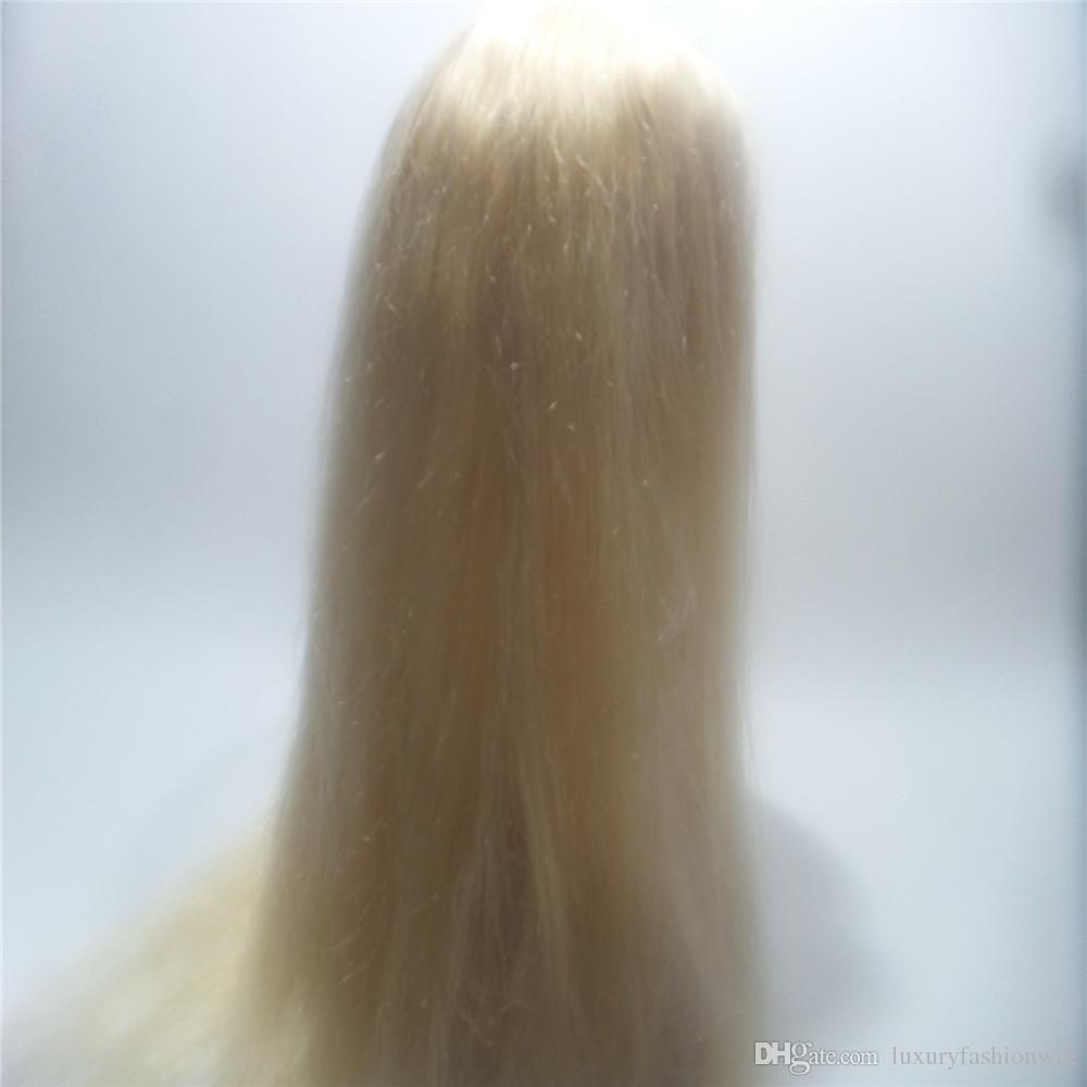 Human Hair Complete Black Women Glueless Wig Cordon Ombre Brazilian Virgin Hair 100% Color #613 Full Lace Wig Top Silk Weaving KABELL WIGS