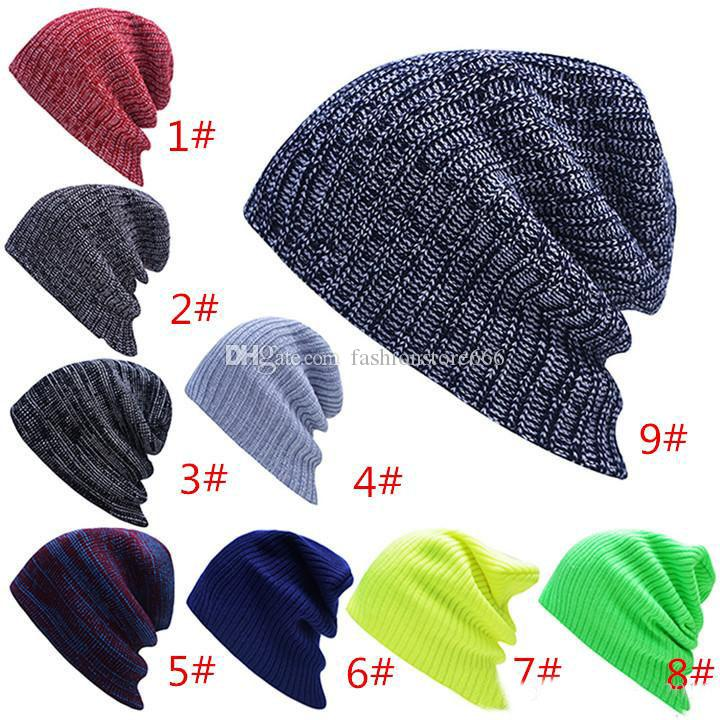 f47a956c8a1c9 Unisex Women Men Knitted Caps Autumn   Winter Warm Soft Crochet Cap  Oversized Slouchy Beanie Hats Top Quality Xmas Gift Fitted Caps Knit Hats  From ...