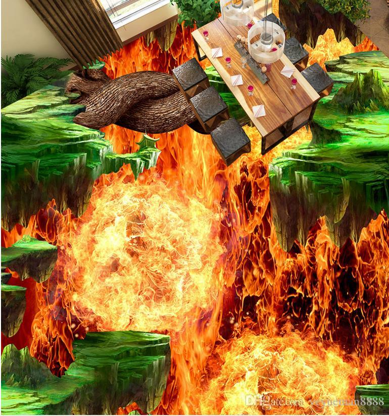 3d plancher de papier peint flamme volcan 3d fonds d'écran pour le plancher de mur personnalisé 3d salle de papier peint paysage revêtement de sol en pvc