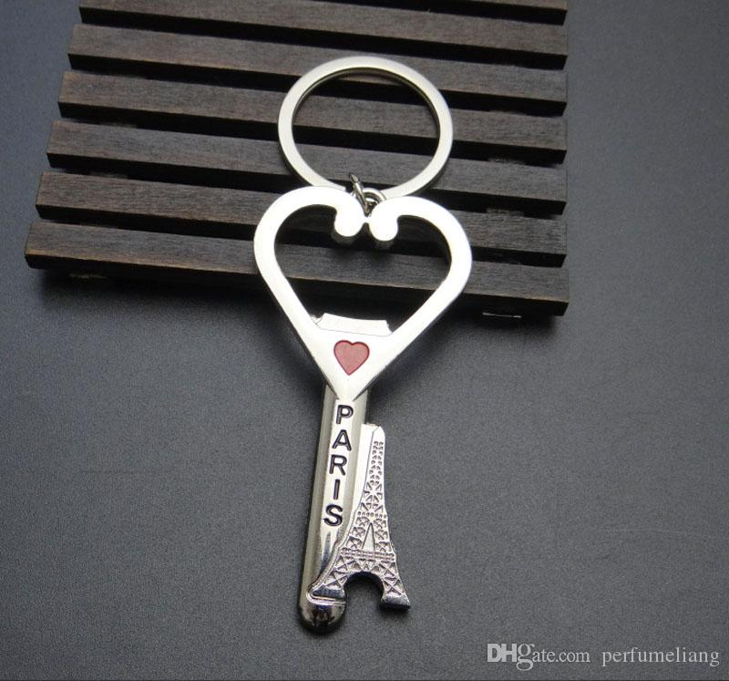 Paris Eiffel Tower Key Chain Metal Heart Beer Bottle Opener Keychains Key Ring Christmas Wedding Gift ZA4380