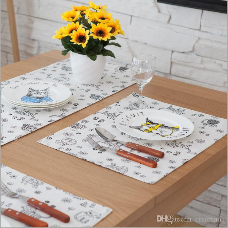 Creative Cartoon Style Owl Pattern Cotton Linen Placemats for Kitchen Dining Washable Non-slip Heat Insulation Table Mats Pad Set of 6