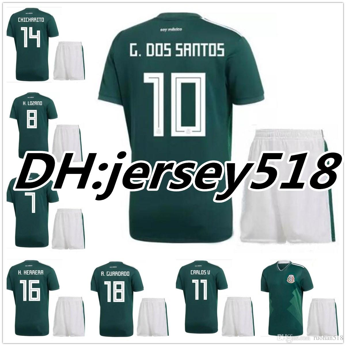 d851573fe 2018 World Cup Soccer Jersey Kits Mexico Home Green CHICHARITO M ...