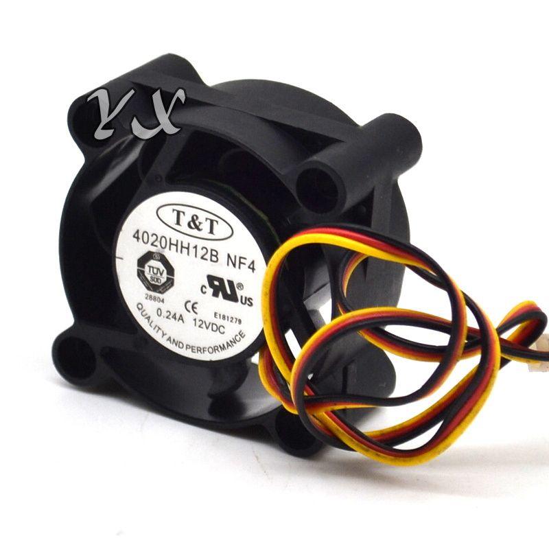 envío gratis de alta calidad Tt 4020HH12B-NF4 DC12V 0.24A doble bola de 3 hilos 40 * 40 * 20 MM ventilador de refrigeración