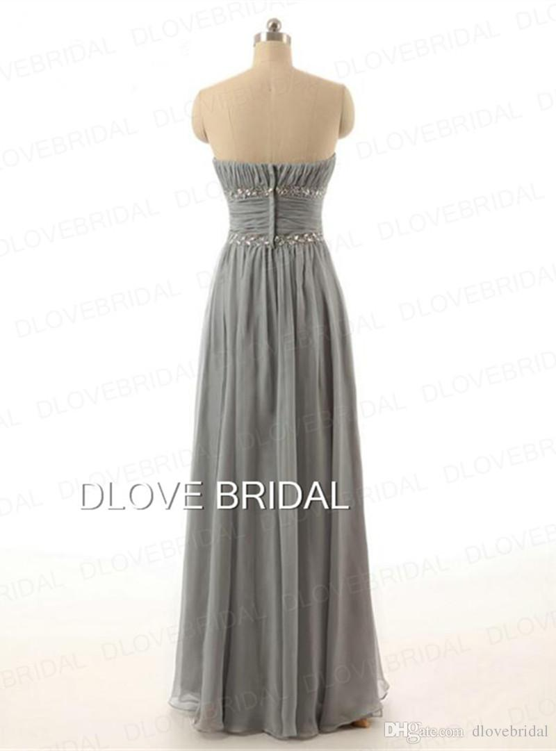 Silver Grey Chiffon Maid of Honor Dress Strapless A Line Floor Length Ruched Beaded Wedding Guest Party Gown Long Bridesmaid Dresses Cheap