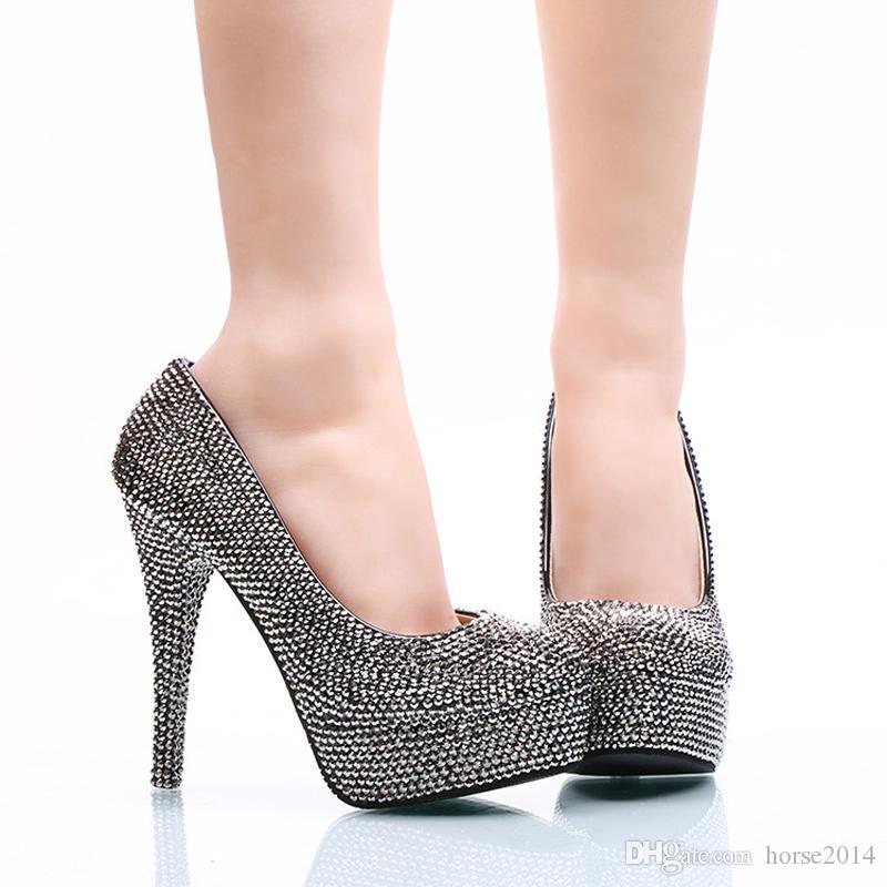 2017 Fashion Mine Noir Femmes Parti Chaussures De Bal Mousseux Cristal Discothèque Talons Hauts Bout Rond Fête De Mariage Pompes Grande Taille