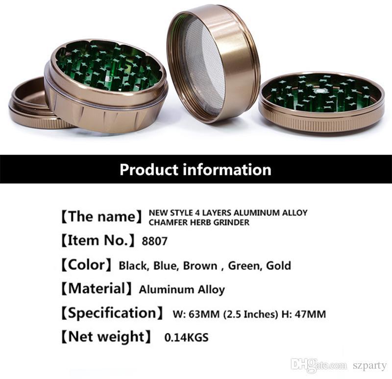 Neue Art 4Layers Aluminiumlegierung Fasen Herb Grinder 63mm Durchmesser Tabak Grinder 4 Farben Freies Schnelles Schiff