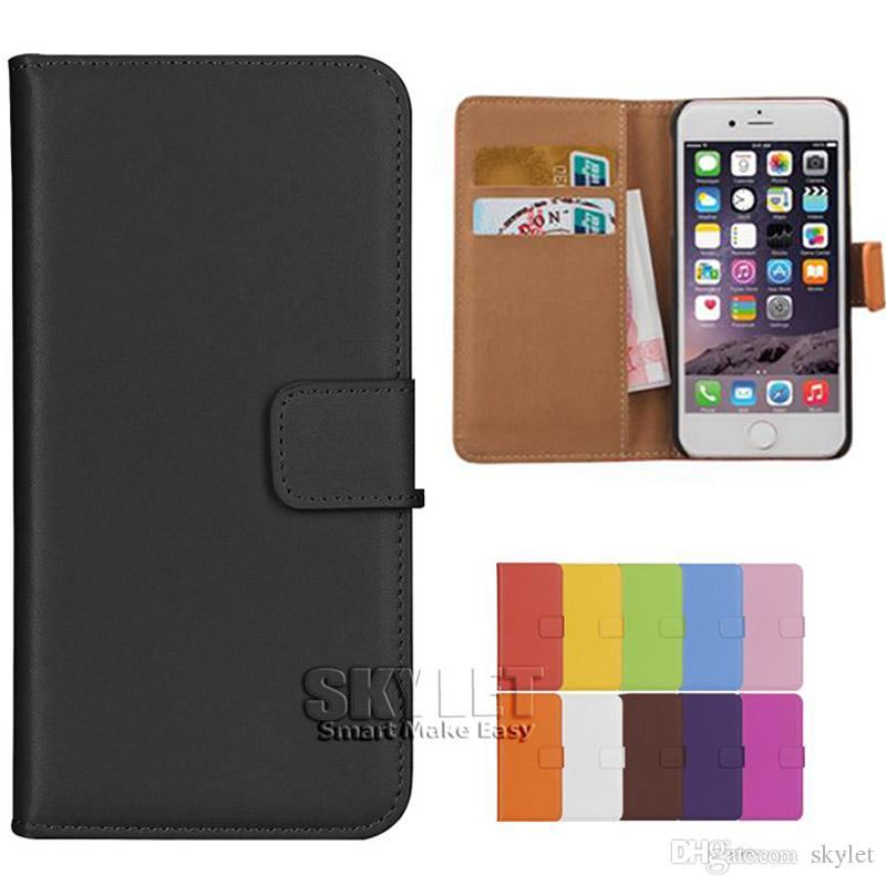 For Iphone 8 Real Genuine Leather Wallet Case Cover Credit Card
