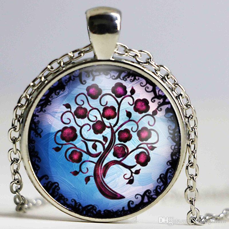 New Vintage tree pendant necklace life tree picture glass cabochons antique bronze chain necklace fashion jewelry for wome
