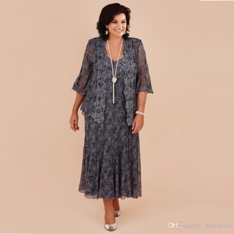 Plus Size Comprimento de Chá de Renda Cinza Mãe dos Vestidos de Noiva Com Jaqueta de Noiva Da Noiva Vestido de Festa de Casamento Formal vestido de renda