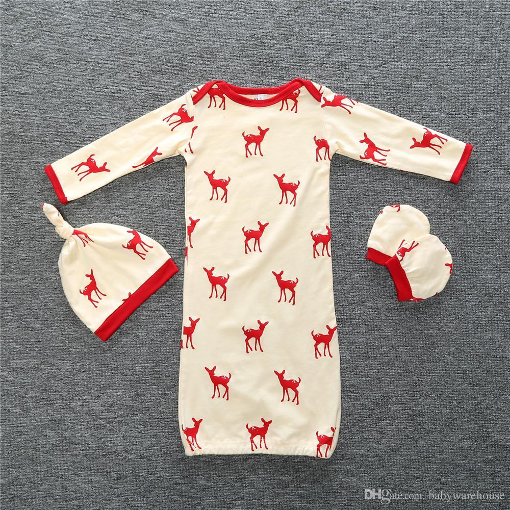 Weihnachten Schlafsack für Baby Swaddle Schlafsack mit passenden Hut Handschuhe 3 STÜCKE Pyjamas Kinder Kleidung Winter Kleidung Set für Jungen Mädchen