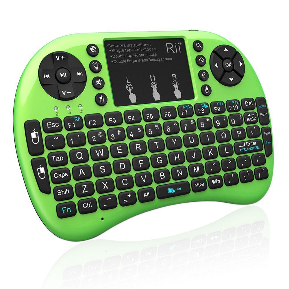 Mini teclado retroiluminado inalámbrico I8 2.4 GHz USB Touchpad Teclado Air Mouse Control remoto para dispositivo HD TV Android Tablet PC