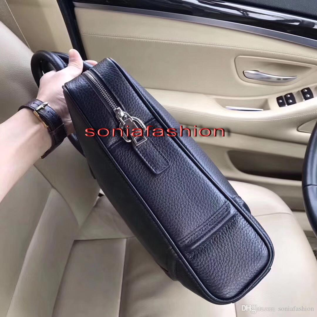 2017 new Hot sell men bag import genuine leather briefcase fashion man computer bag with long strap