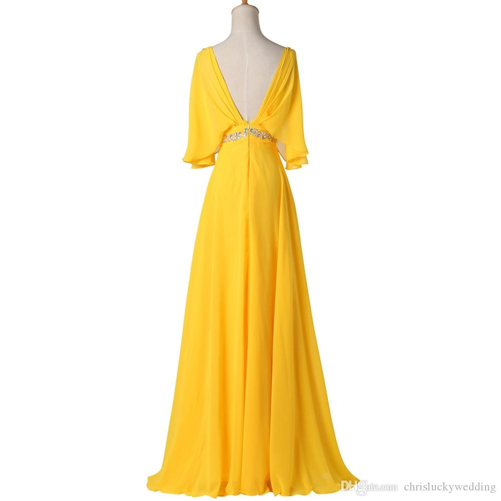 Yellow 2016 Evening Gowns Long Chiffon Evening Dresses 1/2 Sleeves Prom Formal Guest Long Party Plus Size Special Occasion Dresses Cheap