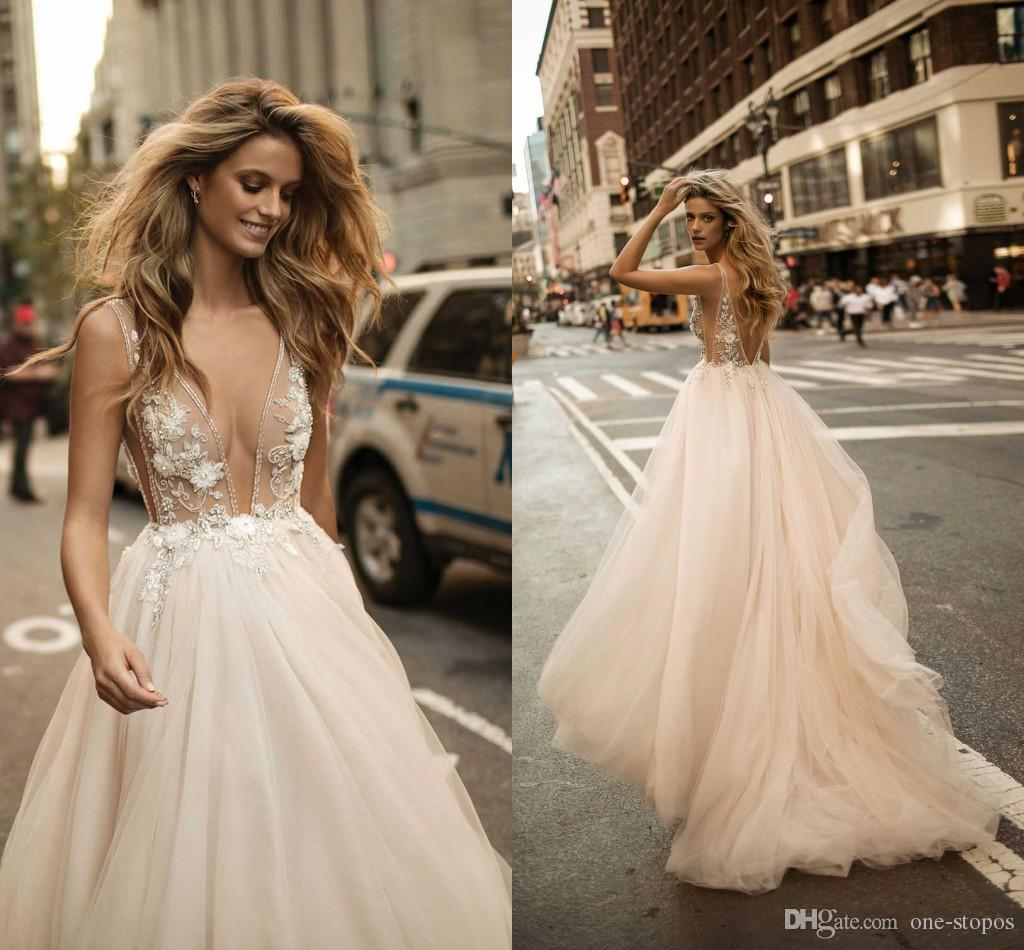 Discount 2017 berta a line wedding gowns sexy sheer 3d appliques discount 2017 berta a line wedding gowns sexy sheer 3d appliques beaded deep v neck tulle beach bridal gowns wedding dresses under 100 weddingdresses from junglespirit Gallery
