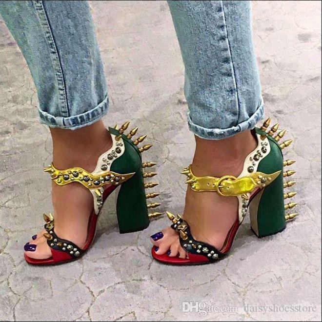 ccaa84f276d LTTL Brand Sandalias Mujer Malin Spike Leather Sandals Women Ankle Strap Chunky  High Heels Colorblock Metallic Rivet Studded Shoes Woman Sparx Sandals Blue  ...