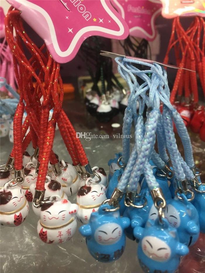100 قطع عشوائية مزيج الكلاسيكية لون مختلف لطيف maneki نيكو محظوظ القط بيل الهاتف الخليوي المحمول سحر