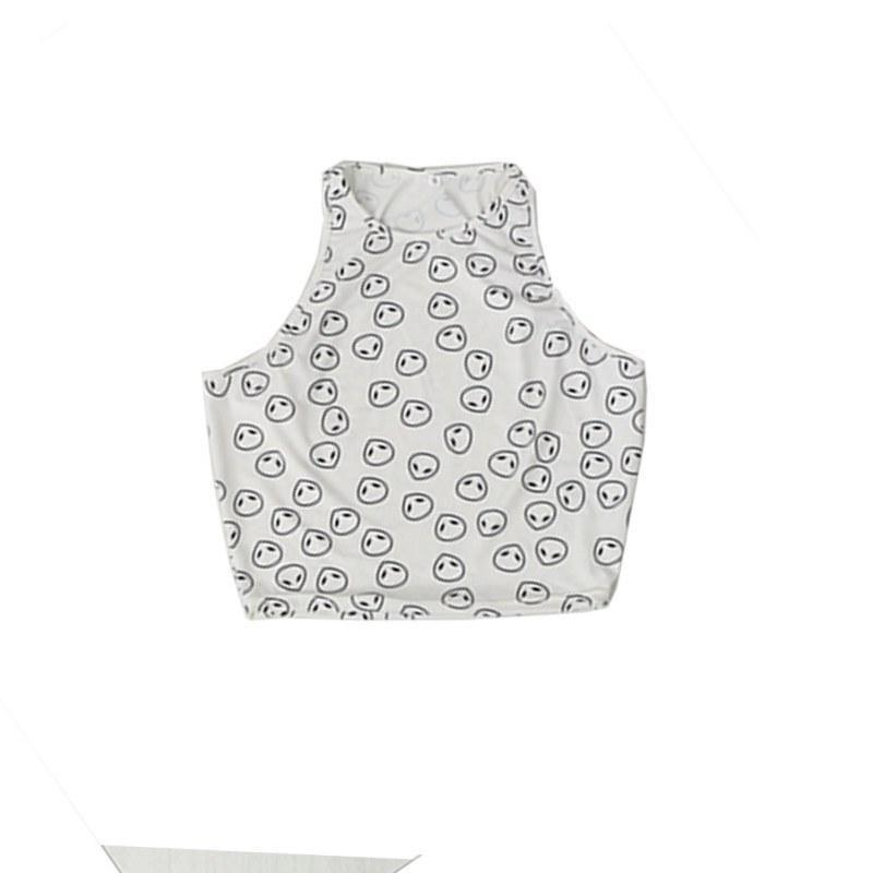 Compre Moda Nueva Verano Estilo Blanco Alien Pattern Halter Top ...