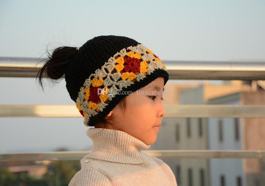 Compre Messy Bun Hat Gorra De Cola De Caballo Crochet Abuelita ...