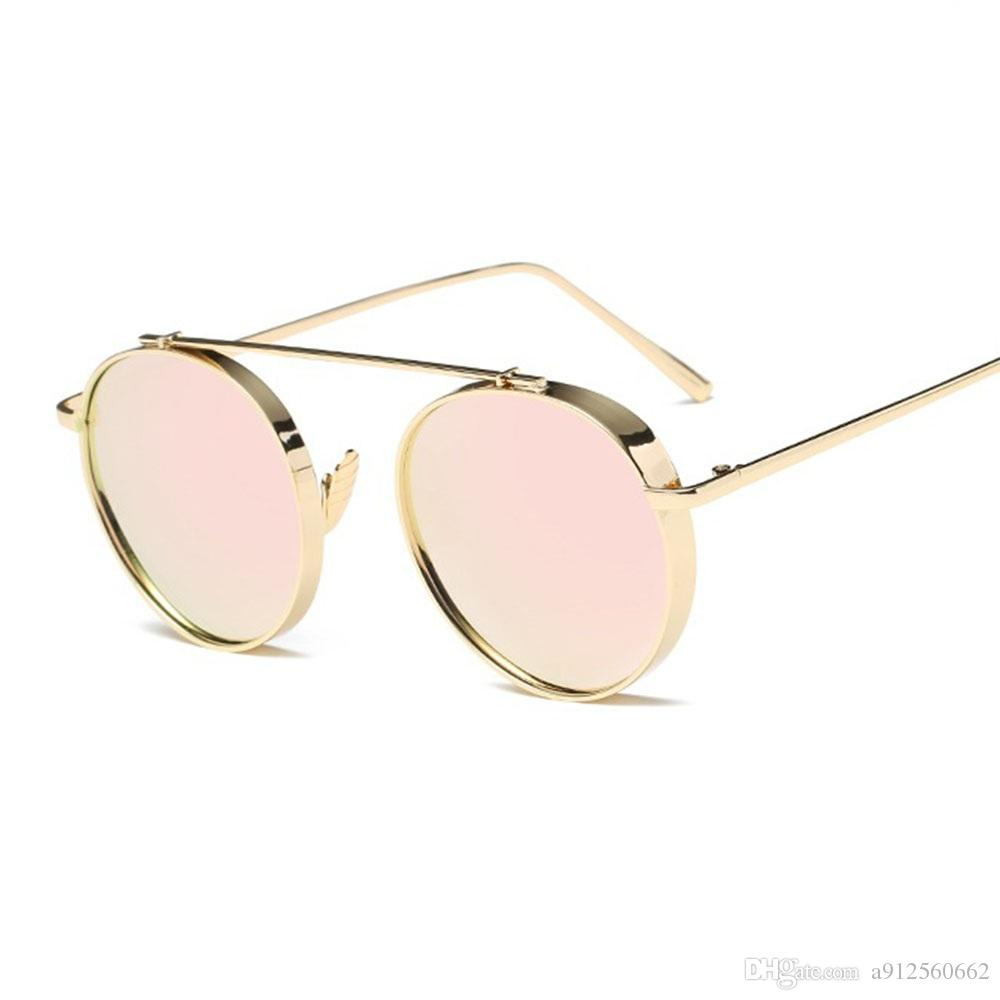 Round Thick Lens Alloy Frame Women Fashion Sunglasses Pink Mirrors ...