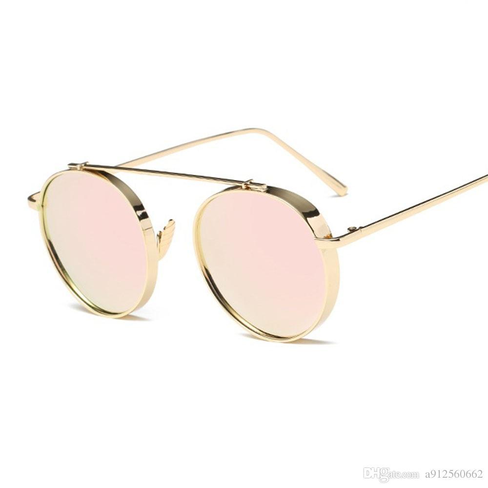 366b688383b2 Round Thick Lens Alloy Frame Women Fashion Sunglasses Pink Mirrors Brand  Deisgner Gold Eyeglasses Men Eyewear Vintage Luxury Party Dress Glasses  Online ...