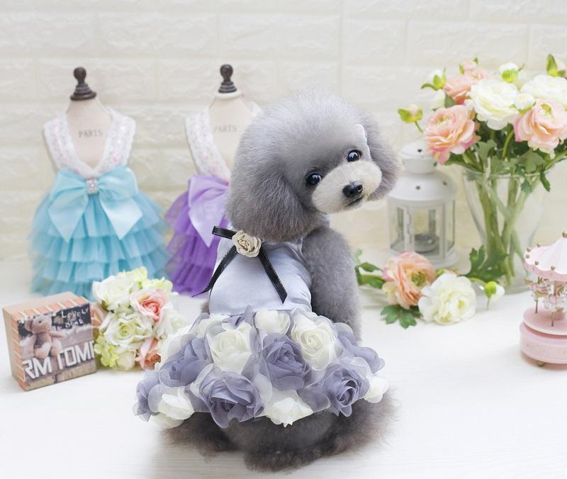 2017 Pet Dog Rose Wedding Dress Puppy Princess Lovely Clothes Cloth for Small Dog Chihuahua Yorkshire Spring & Summer