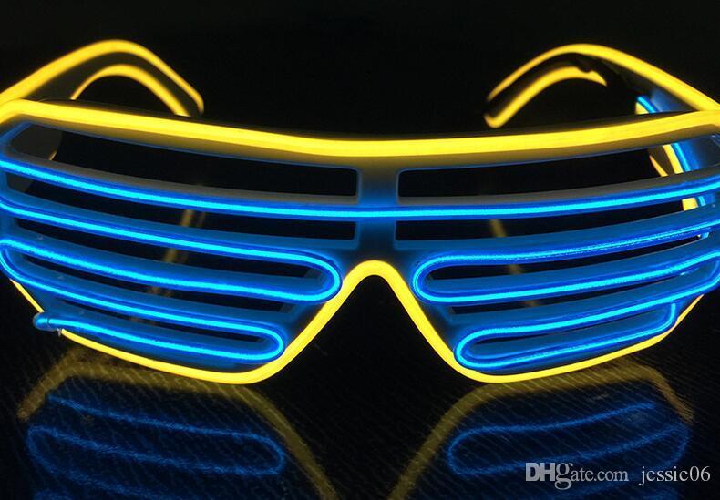 Nuovo LED doppie tende di colori incandescenti Occhiali El Filo hanno portato DJ lampeggiante occhiali di Halloween di Natale Festa di compleanno