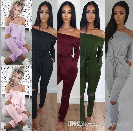 5ab915a80dee 2019 Autumn Off Shoulder Women Jumpsuits 2016 Long Sleeve Bodysuit Velvet  High Waist Plus Size Overalls Bodycon Jumpsuit Rompers From Laopo store