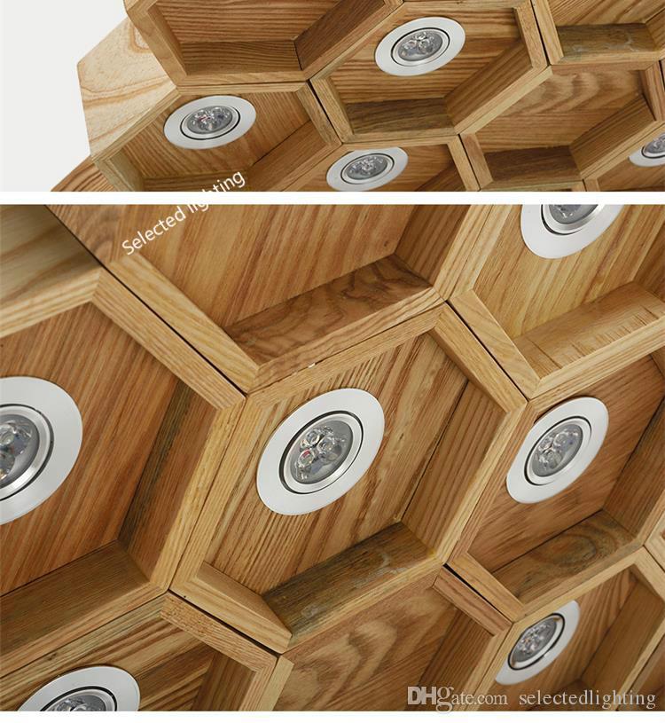 لوفت الخشب قلادة مصباح الثريات العسل الشمال العتيقة خشبية تأسست على الصلبة الخشب ضوء بار مقهى الثريات الصغيرة