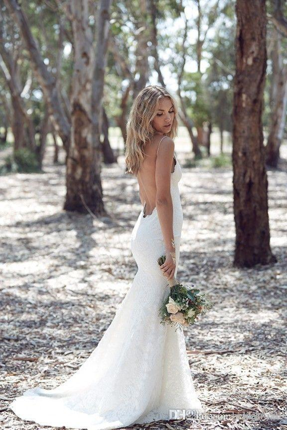 Vintage 2019 encaje bohemio vestidos de novia sirena correa de espagueti sin respaldo playa vestidos de novia por encargo Vestidos De Novia