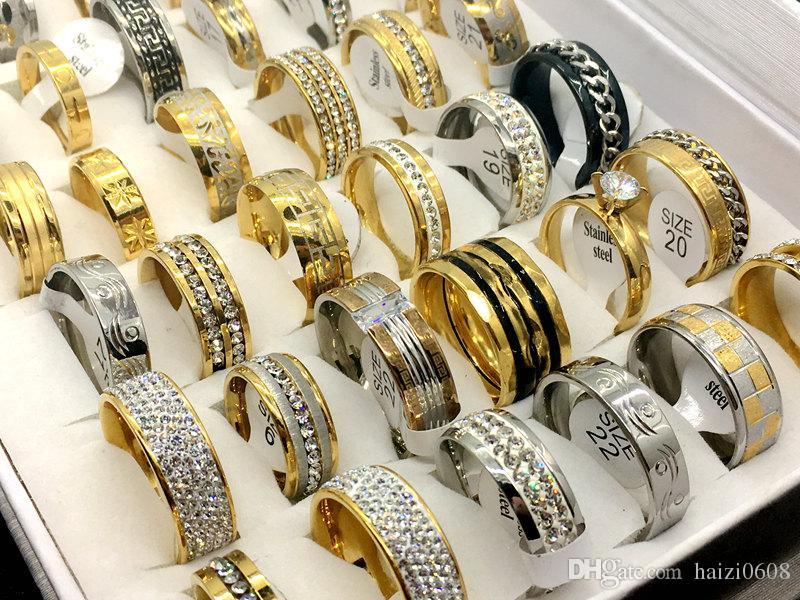 Toptan 30 adet Mix Stil erkek kadın Moda Taş Alyans Nişan Yüzüğü Takı Hediye Yüzük
