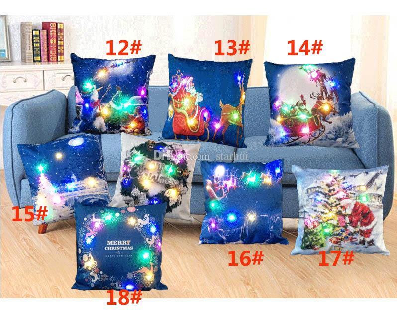 45*45cm Led Light Luminous Pillow Case Christmas XMAS Santa Claus Reindeer Pillow Case Sofa Car Decor Cushion Gifts WX9-62
