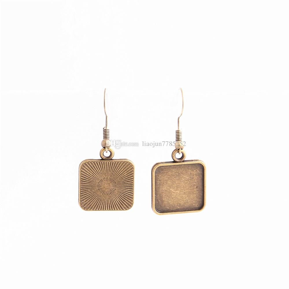 SWEET BELL Metal Alloy Zinc Fit Square 16mm Cabochon Set Pendant Drop Earing Diy Jewelry Making C0790