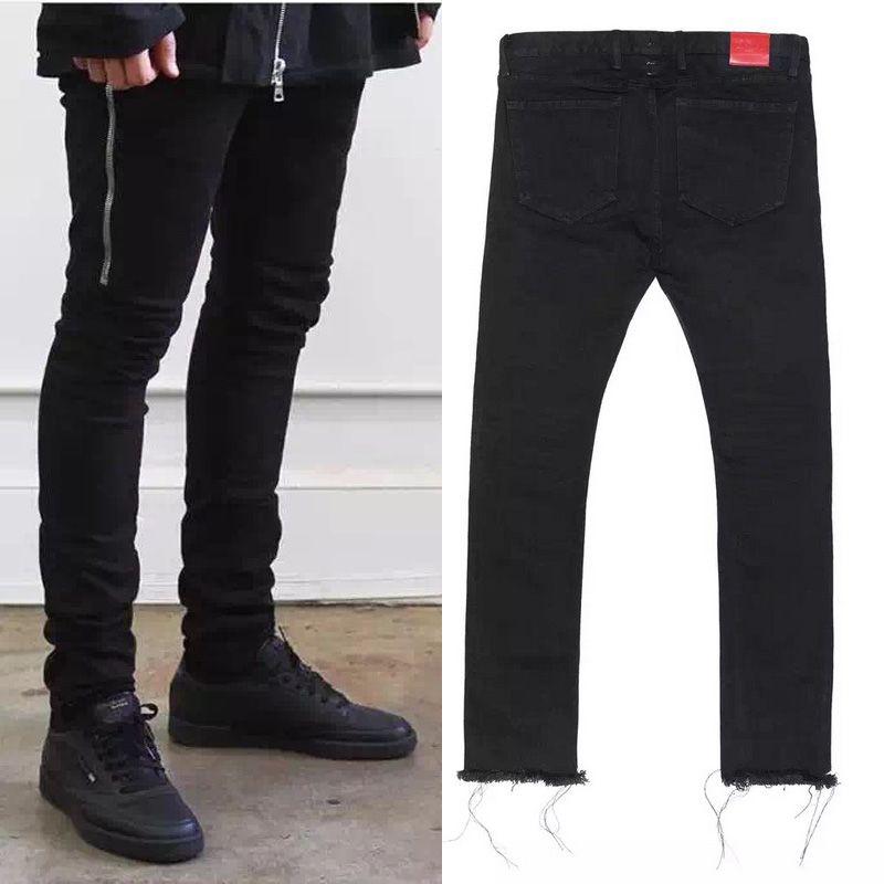 c374f606 2019 Wholesale Mens Black Skinny Jeans 424 FourTwoFour Side Zipper Raw  Edges Men Designer Denim Jeans Kpop Streetwear From Rachaw, $49.53 |  DHgate.Com