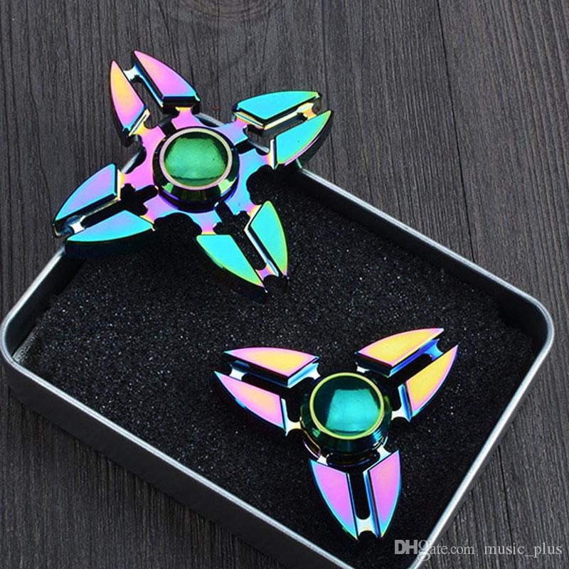 Listing Rainbow Zinc Alloy Asterism HandSpinner Finger Gyro EDC Toy For Decompression Anxiety Handspinner