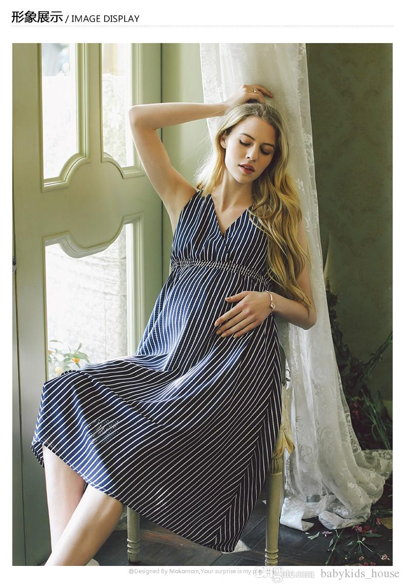 Summer Women Maternity Dresses for Pregnant Women Loose Clothing Maternity Fashion Stripe Home Mother Clothes Dress