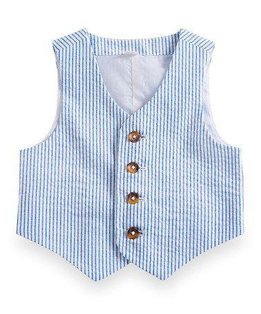 2017 Blue Pinstripe Cotton Seersucker Boy's Vest Custom Made Children Suit Vest Slim Boy's Formal Wear Kids Prom Suit Waistcoat Wedding Vest