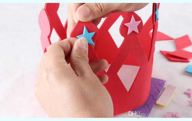 EVA Foam Birthday Crown for Children Birthday Party Caps Self-adhesive DIY Handmade 3D Eva Crown Hat Craft Kits ZA3595
