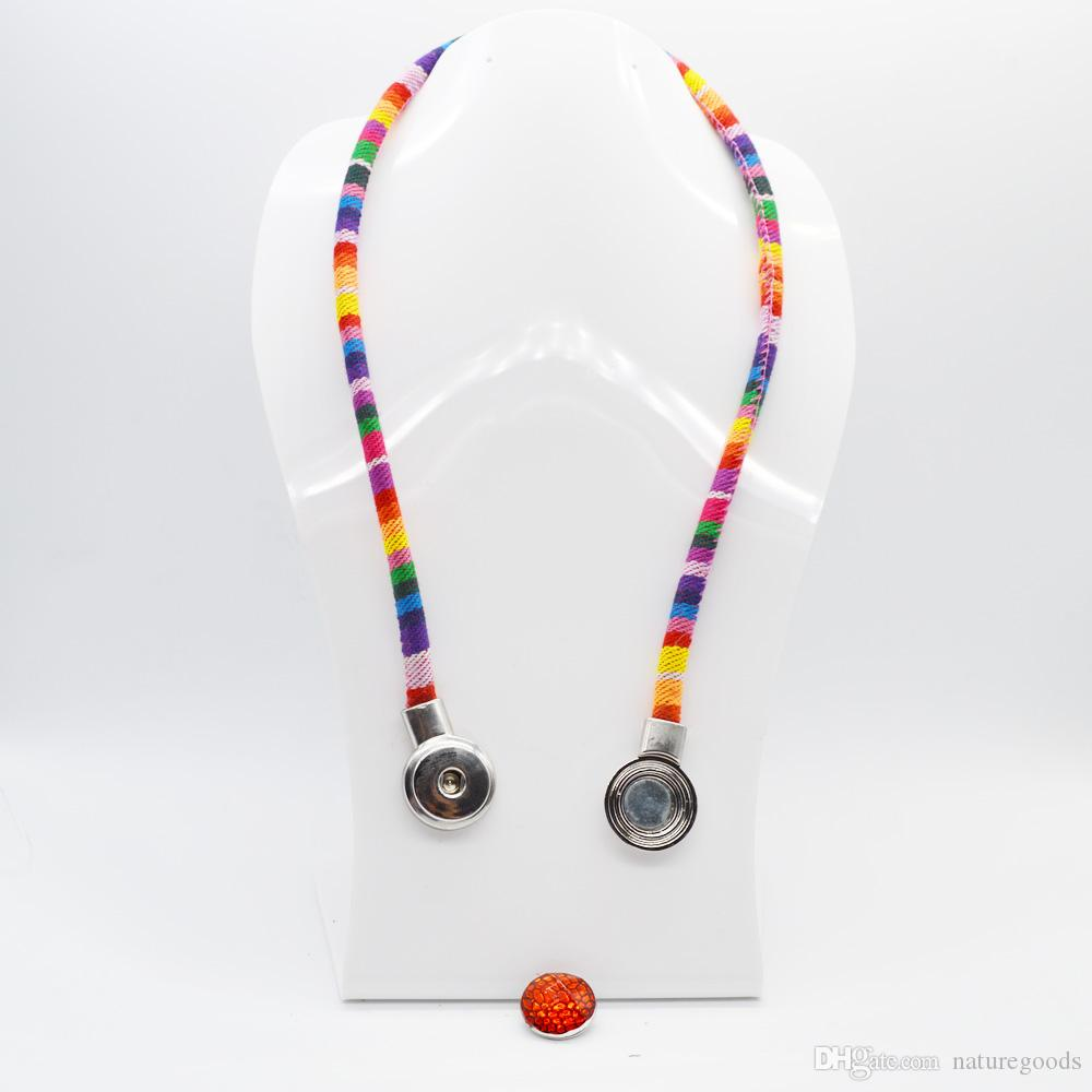 6 ADET klasik tork karışık renk 18mm snap düğmesi kolye Bohemian kolye ve kolye unisex DIY takı tek yönde