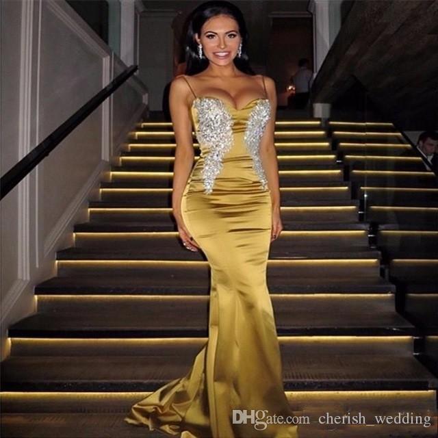 2017 Vestidos Sexy Spaghetti cetim longos vestidos Prom frisada Applique Fishtail Lace Evening