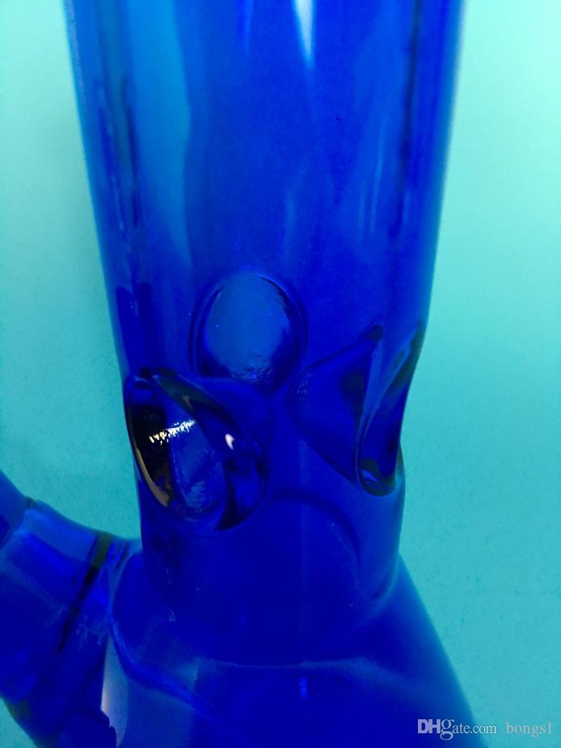 Tubos de agua de vidrio azul de 10.5 pulgadas Beaker Bong Smoking mini bong de vidrio Tubos de agua de la plataforma petrolera Ash catcher hitman bongs de agua grandes